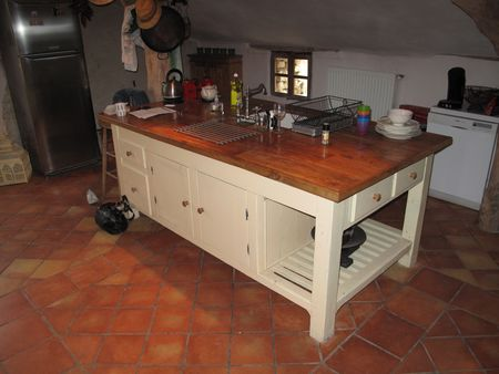 Rustic French Kitchen Island Unit With Oak Surface