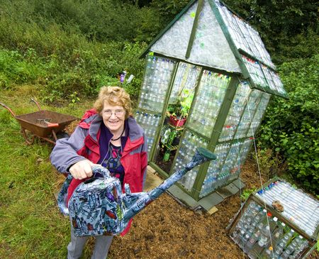 Linda plastic greenhouse made from bottles