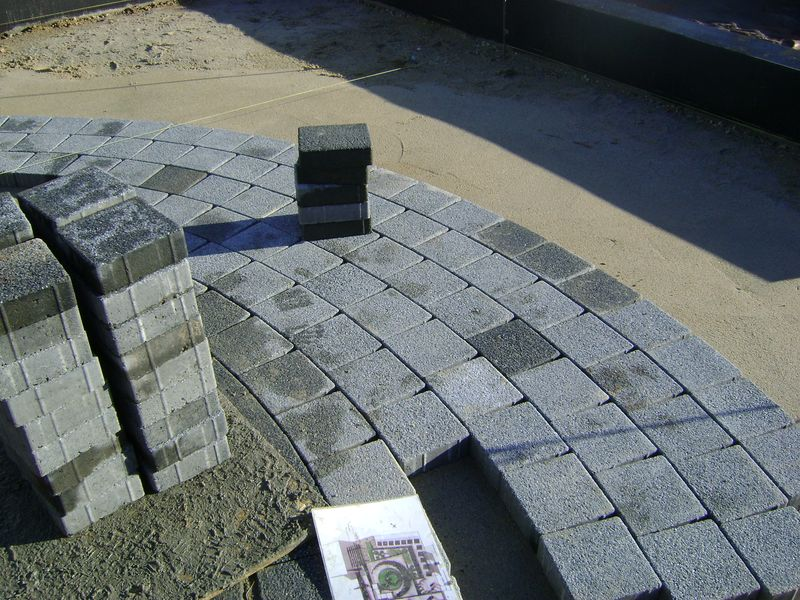 Curved block paving