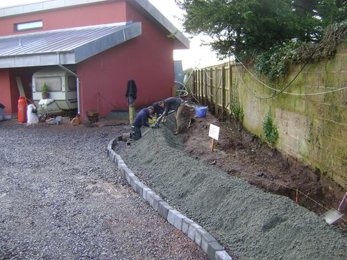 Kerbs installation and concrete backing