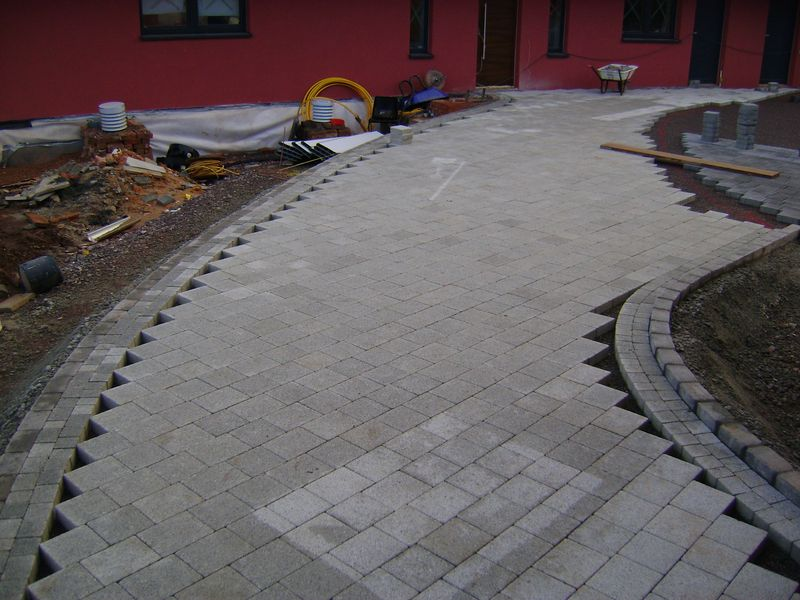 Block paving footpath