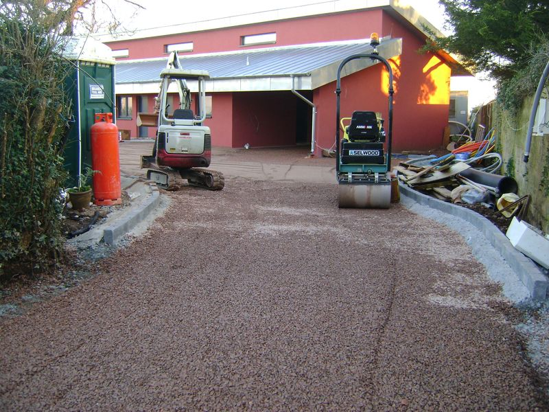 Passive house with permeable driveway