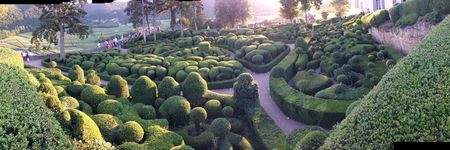 Panorama boxwood topiary gardens chateau Marquessyac