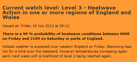 Level 3 heatwave warning Met Office