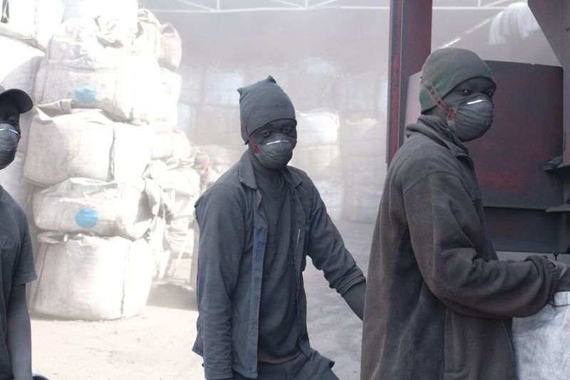 Namibiam workers producing charcoal